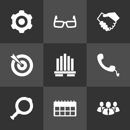 handglass: Set Of 9 Enterprise Icons Set.Collection Of Partnership, Goal, Data And Other Elements.