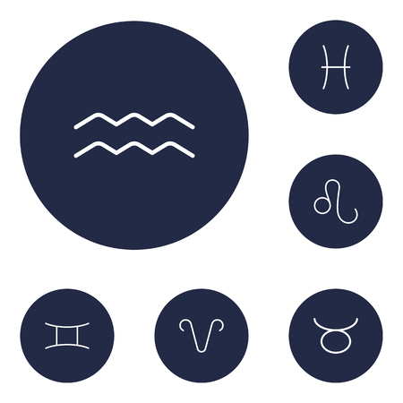 Set Of 6 Astrology Outline Icons Set.Collection Of Aqurius, Aries, Leo And Other Elements.