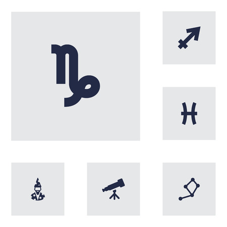 Set Of 6 Horoscope Icons Set.Collection Of Fishes, Augur, Archer And Other Elements. Illustration