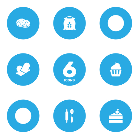 stir: Set Of 6  Icons Set.Collection Of Shortcake, Sweetmeat, Whisk And Other Elements. Illustration
