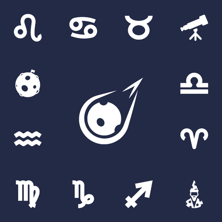 Set Of 13 Astronomy Icons Set.Collection Of Goat, Archer, Augur And Other Elements.
