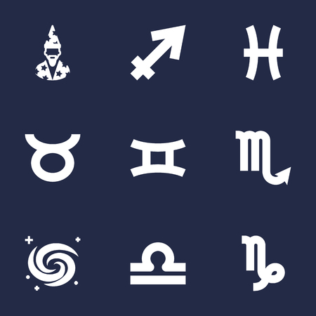 Set Of 9 Galaxy Icons Set.Collection Of Augur, Goat, Bull And Other Elements. Illustration