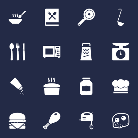 Set Of 16 Cooking Icons Set.Collection Of Kitchen Rasp, Broth, Non-Stick And Other Elements. Illustration