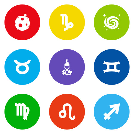 Set Of 9 Horoscope Icons Set.Collection Of Bull, Archer, Twins And Other Elements.