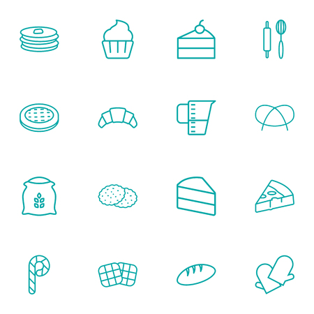 Set Of 16  Outline Icons Set.Collection Of Gloves, Rolling Pin, Cookie And Other Elements.