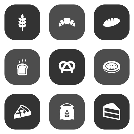 bretzel: Set Of 9 Cook Icons Set.Collection Of Grain, Loaf, Pepperoni And Other Elements.