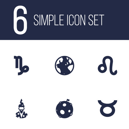 Set Of 6 Horoscope Icons Set.Collection Of Lunar, Augur, Bull And Other Elements. Illustration