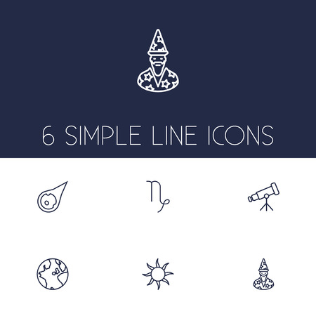 Set Of 6 Horoscope Outline Icons Set.Collection Of Asteroid, Sun, Globe And Other Elements.
