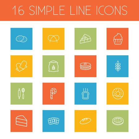 Set di 16 Set di icone set di stufa.Collezione di caramelle, pane, elementi di ciambella.