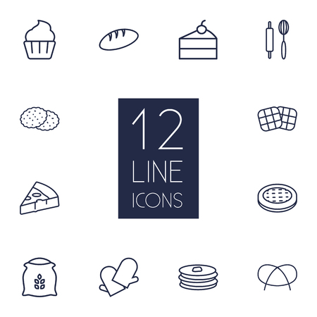 Set Of 12 Bakery Outline Icons Set.Collection Of Gloves, Pretzel, Rolling Pin And Other Elements.