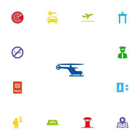 abstain: Set Of 13 Land Icons Set.Collection Of Passport, Automobile, Forbidden And Other Elements.