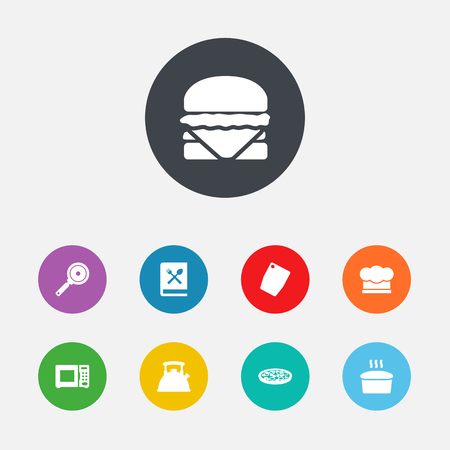 Set Of 9 Culinary Icons Set.Collection Of Loaf, Cutting Surface, Cooking Instruction And Other Elements. Illustration