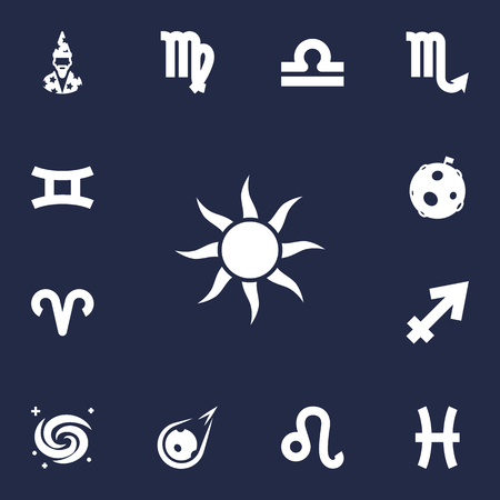 Set Of 13 Horoscope Icons Set.Collection Of Comet, Fishes, Lion And Other Elements. Illustration