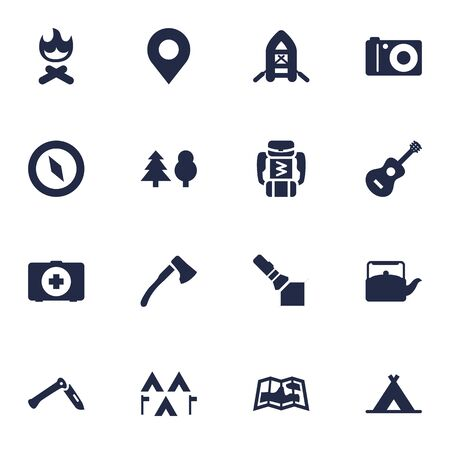 foldable: Set Of 16 Outdoor Icons Set.Collection Of Flashlight, Tent, Map And Other Elements.