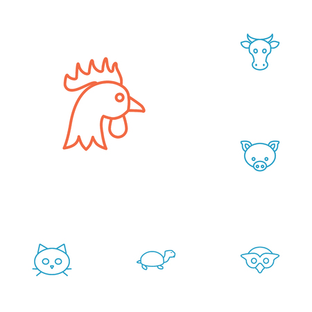 brute: Set Of 6 Brute Outline Icons Set.Collection Of Turtle, Cat, Cock And Other Elements.