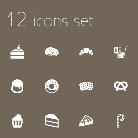 Set Of 12  Icons Set.Collection Of Pastry, Custard, Wafer And Other Elements.