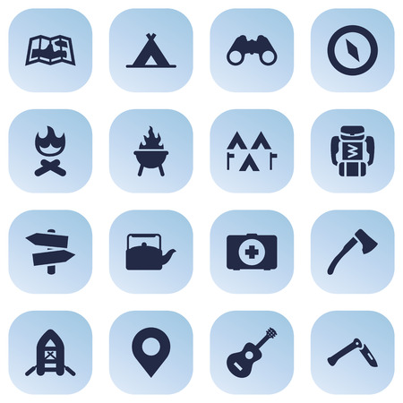 Set Of 16 Outdoor Icons Set.Collection Of Signpost, Wood Axe, Optical Zoom And Other Elements. Illustration