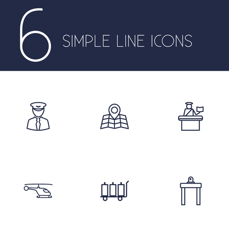 packet driver: Set Of 6 Airplane Outline Icons Set.Collection Of Map, Luggage Trolley, Airport Security And Other Elements.