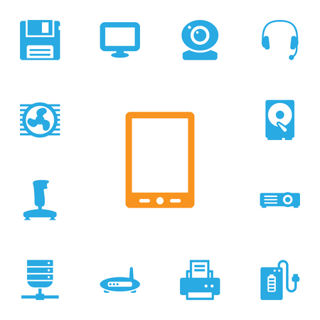 palmtop: Set Of 13 Notebook Icons Set.Collection Of Palmtop, Hard Disk, Fan And Other Elements.