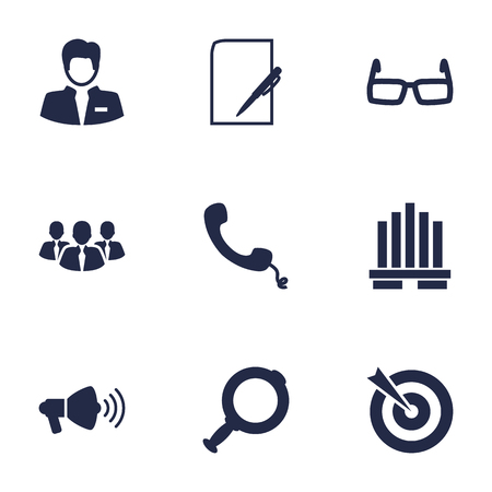 receiver: Set Of 9 Business Icons Set.Collection Of Loupe, Building, Colleagues And Other Elements. Illustration
