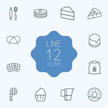 Set von 12 Ofen Outline Icons Set.Collection von Messbecher, Rolling Pin, Pfannkuchen und andere Elemente.
