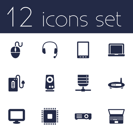 computerized: Set Of 12 Laptop Icons Set.Collection Of Laptop, Palmtop, Display And Other Elements.