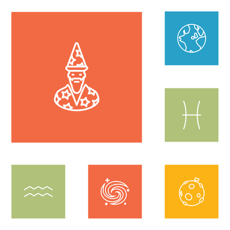 Set Of 6 Astrology Outline Icons Set.Collection Of Moon, Pisces, Galaxy And Other Elements. Illustration