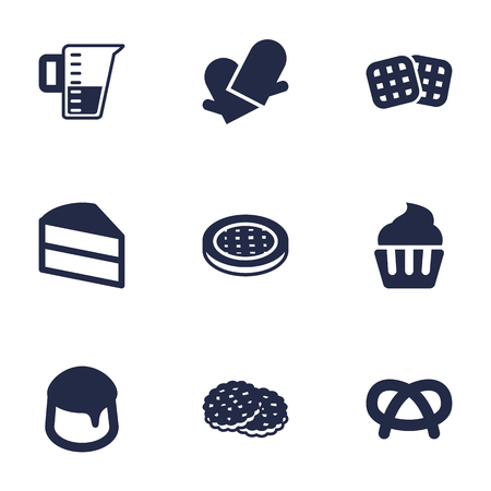 Set Of 9 Stove Icons Set.Collection Of Wafer, Custard, Shortcake And Other Elements.