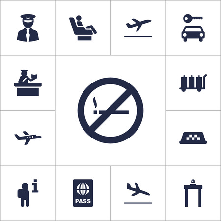 answer: Set Of 13 Land Icons Set.Collection Of Security, Cab, Passport And Other Elements. Illustration