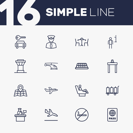 packet driver: Set Of 16 Land Outline Icons Set.Collection Of Cafe, Passport Controller, Sit And Other Elements. Illustration