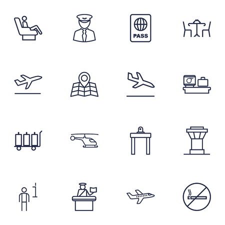 luggage carrier: Set Of 16 Aircraft Outline Icons Set.Collection Of Pilot, Helicopter, Control Tower And Other Elements.