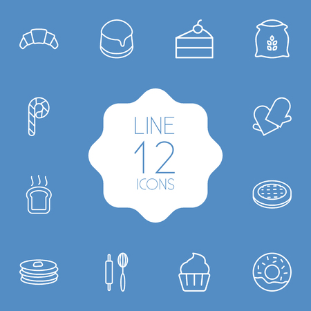 Set Of 12 Cook Outline Icons Set.Collection Of Cheesecake, Gloves, Rolling Pin And Other Elements. Illustration