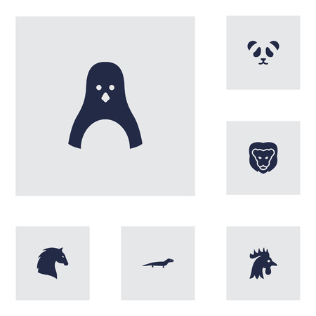 fish tail: Set Of 6 Alive Icons Set.Collection Of Rooster, Bear, Steed And Other Elements.