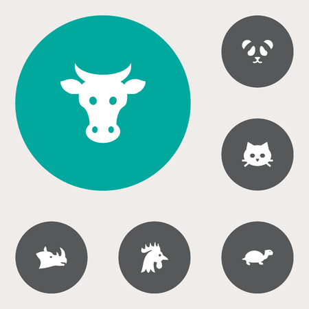 kine: Set Of 6 Alive Icons Set.Collection Of Rooster, Kine, Bear And Other Elements. Illustration