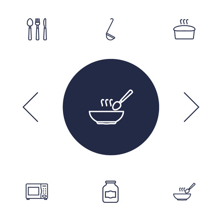 Set Of 6 Cooking Outline Icons Set.Collection Of Ladle, Microwave, Soup And Other Elements.
