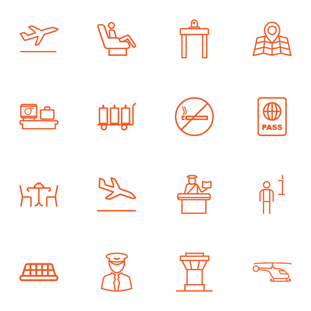 Set Of 16 Land Outline Icons Set.Collection Of Flight, Business Class, Pilot And Other Elements. Illustration