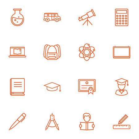 Set Of 16 Science Outline Icons Set.Collection Of Telescope, Calculator, Graduated And Other Elements.