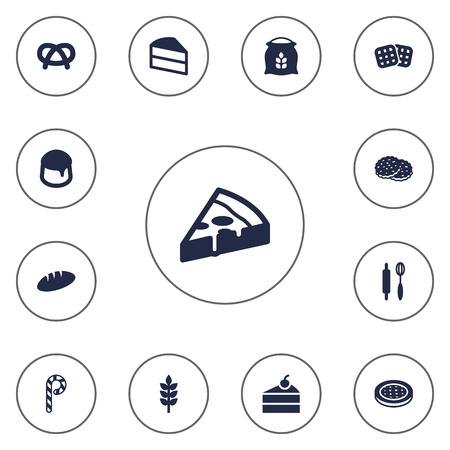 Set di 13 icone di cuoco Set.Collection di wafer, pasticceria, dolci e altri elementi.