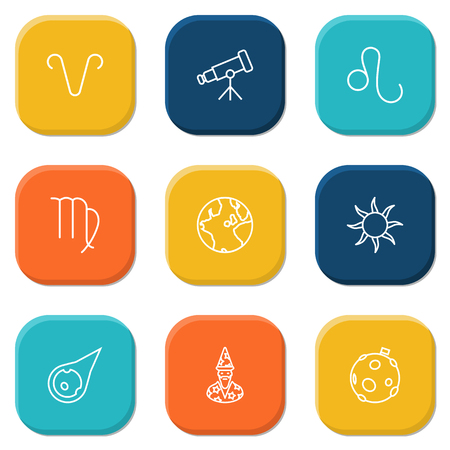 starry night: Set Of 9 Astrology Outline Icons Set.Collection Of Telescope, Globe, Sun And Other Elements.