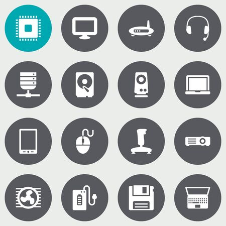 palmtop: Set Of 16 Laptop Icons Set.Collection Of Laptop, Palmtop, Diskette And Other Elements.
