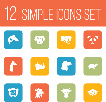 Set Of 12 Alive Icons Set.Collection Of Kine, Horse, Camelopard And Other Elements. Ilustrace