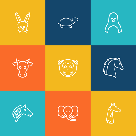 Set Of 9 Beast Outline Icons Set.Collection Of Rabbit, Penguin, Monkey And Other Elements.  イラスト・ベクター素材