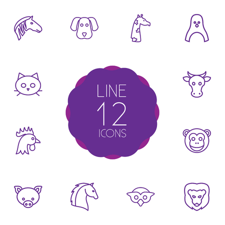 Set Of 12 Alive Outline Icons Set.Collection Of Cow, Pig, Cock And Other Elements.