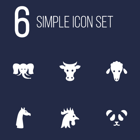 Set Of 6 Alive Icons Set.Collection Of Camelopard, Trunked Animal, Rooster And Other Elements.