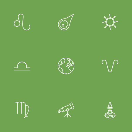 Set Of 9 Astronomy Outline Icons Set.Collection Of Astrologer, Asteroid, Sun And Other Elements.