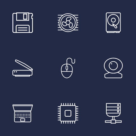 Set Of 9 Computer Outline Icons Set.Collection Of Scanner, Laptop, Server And Other Elements.