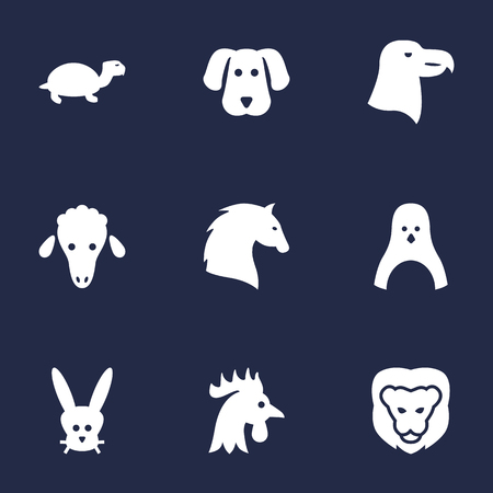 antarctic: Set Of 9 Alive Icons Set.Collection Of Lamb, Steed, Bunny And Other Elements.