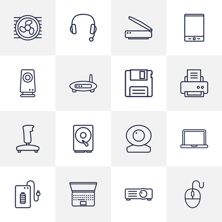 Set Of 16 Laptop Outline Icons Set.Collection Of Scanner, Headphone, Gamepad And Other Elements.