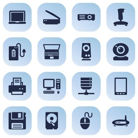 palmtop: Set Of 16 Laptop Icons Set.Collection Of Palmtop, Record, Diskette And Other Elements. Illustration