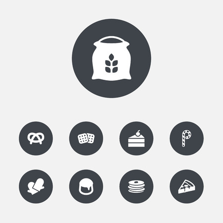 Set Of 9 Cook Icons Set.Collection Of Custard, Pepperoni, Snack And Other Elements. Vettoriali